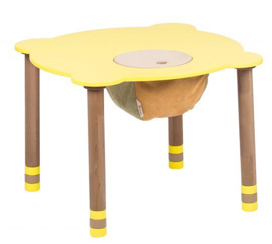 Pyöreä keltainen pöytä