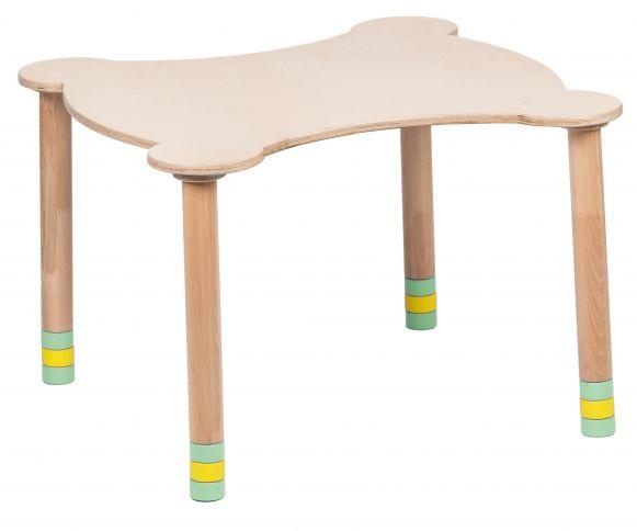 Kihara vihreä pöytä / luonnonpuuta