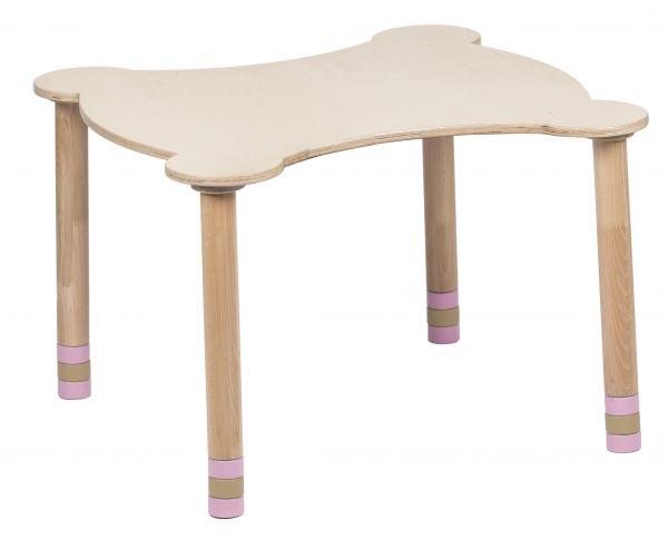 Kihara pöytä vaaleanpunainen / luonnonpuu