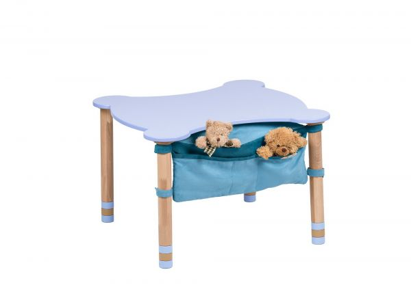 Muotoiltu pöytä indigotaskulla