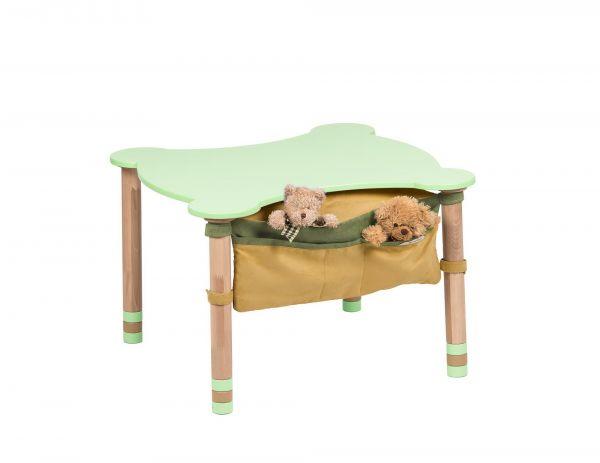 Muotoiltu pöytä, jossa tasku vihreä