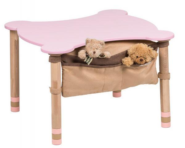 Kuviollinen pöytä, jossa tasku vaaleanpunainen