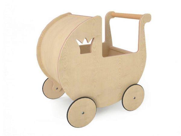 Vauvan rattaat nukkeille luonnonpuusta