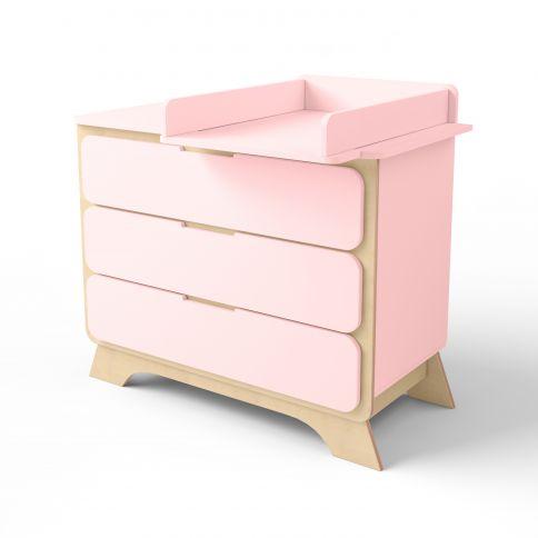 Lipasto, jossa hoitopöytä Nova vaaleanpunainen / luonnonpuu